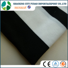 China factory shaoxing supplier stripe design black and white polyester stretch knit hacci fabric