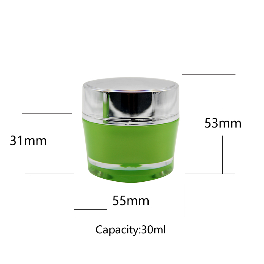 A series Green color acrylic cream jar with silver cap