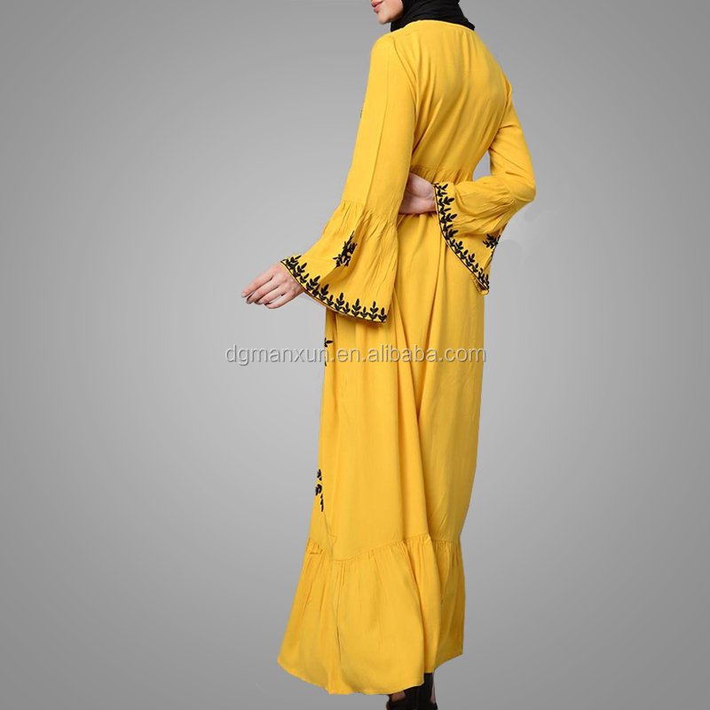 New Model Abaya In Dubai Islamic Apparel Elegance Long Sleeve Embroidery Pakistani Kaftan Dress Full Length Side Pockets Abaya