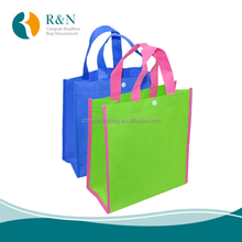 Promotional foldable Shopping tote Bag top with Snap Button closure, non woven Reusable folding tote bag