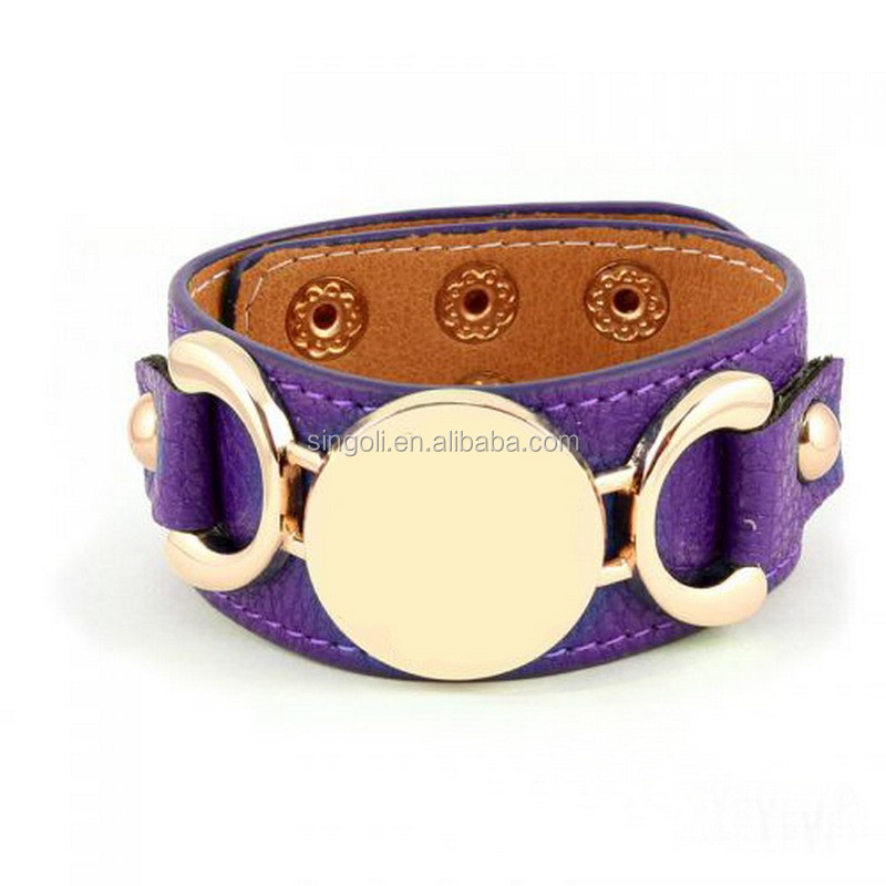 Fashion Monogram Leather Cuff Bracelet For Women Men 3 Row Gold/Silver Plated 22 Colors Available