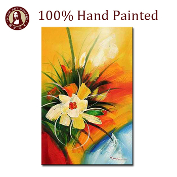 Hot Abstract Beautiful Flower Designs Fabric Painting for Interior Decoration