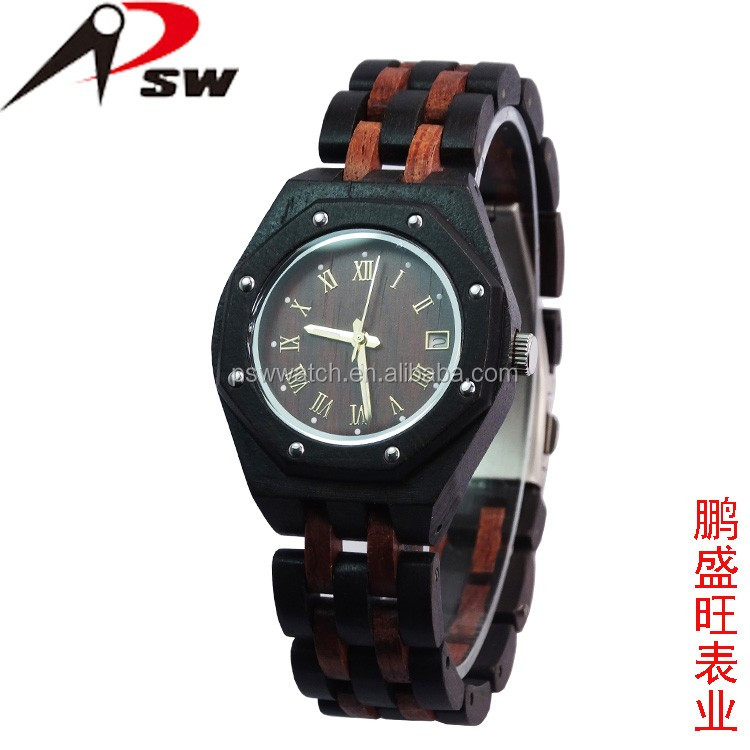 Wholesale wood watch diamond wood watches with Japan quartz movement