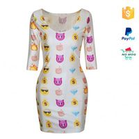 Middle Sleeve Emoji Sexy Nighty Dress Picture