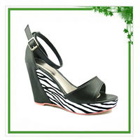 Zebra wedge sandal exotic high heel shoes