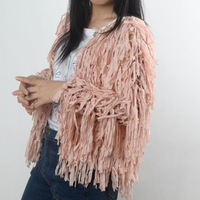 MS71896L Latest fashion solid color women crochet cardigan with fringe