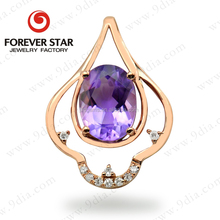 Hot Sale Guangzhou Jewelry Natural Amethyst Stone with Diamond 9K Gold Necklace Jewelry