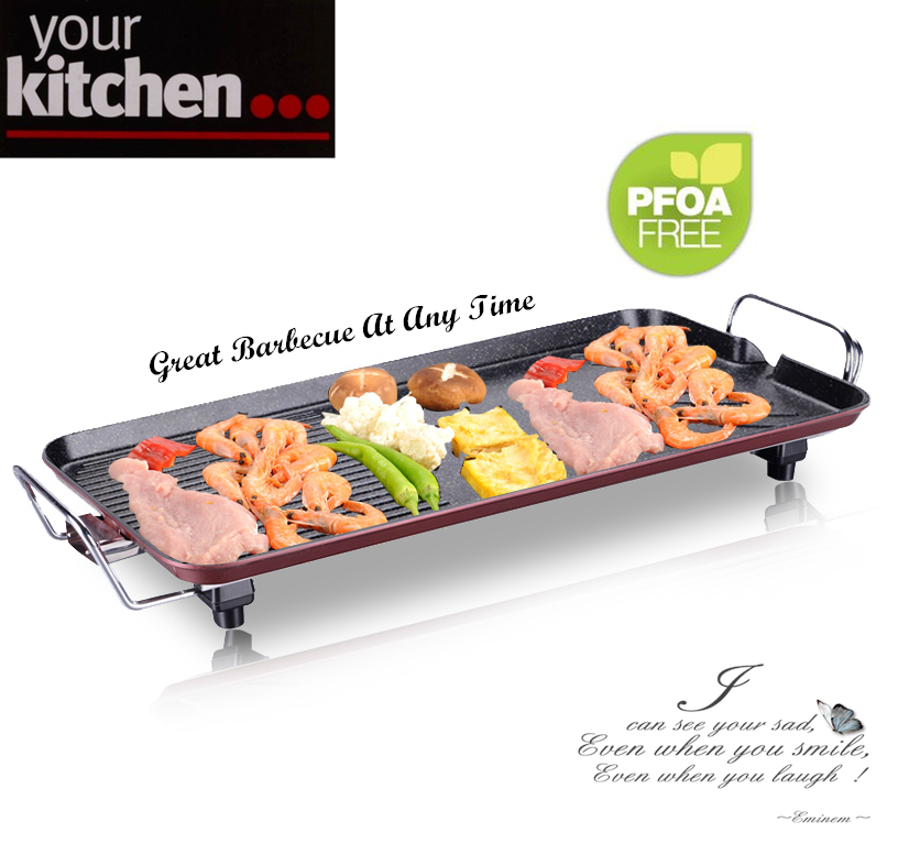 Griddle cooking with 1700W high quality Ceramic Coated PLANCHA Multi Teppanyaki Grill & Steam Boat - Sukiyaki - Korean BBQ,