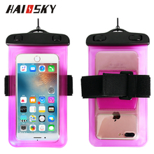 HAISSKY Fashion pvc waterproof cell phone bag mobile phone case with armband for iphone 8 8plus 7 7plus