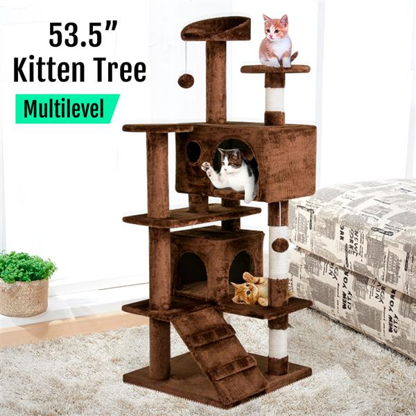 53.5'' Cat Tree Kitten Condo w/ Toy Scratching Posts Kitty Tower 591375