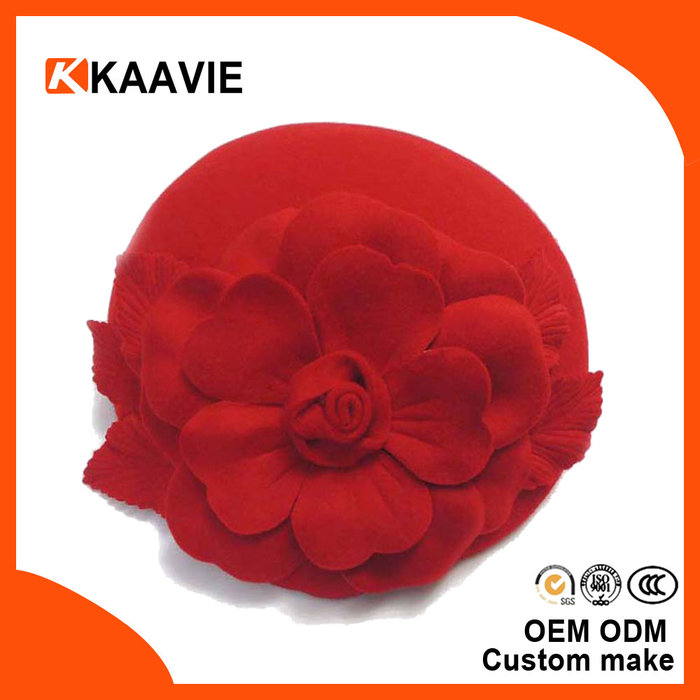 Stylish Lady Wool Flower Beret Hat for Girl