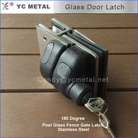 304 Stainless Steel 180 Degree Mirror Glass To Glass Gate Latch With Key