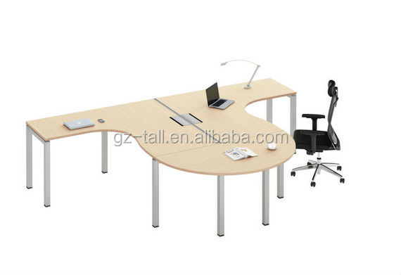 hot selling modern 2 person office desk with semicircular coffee table
