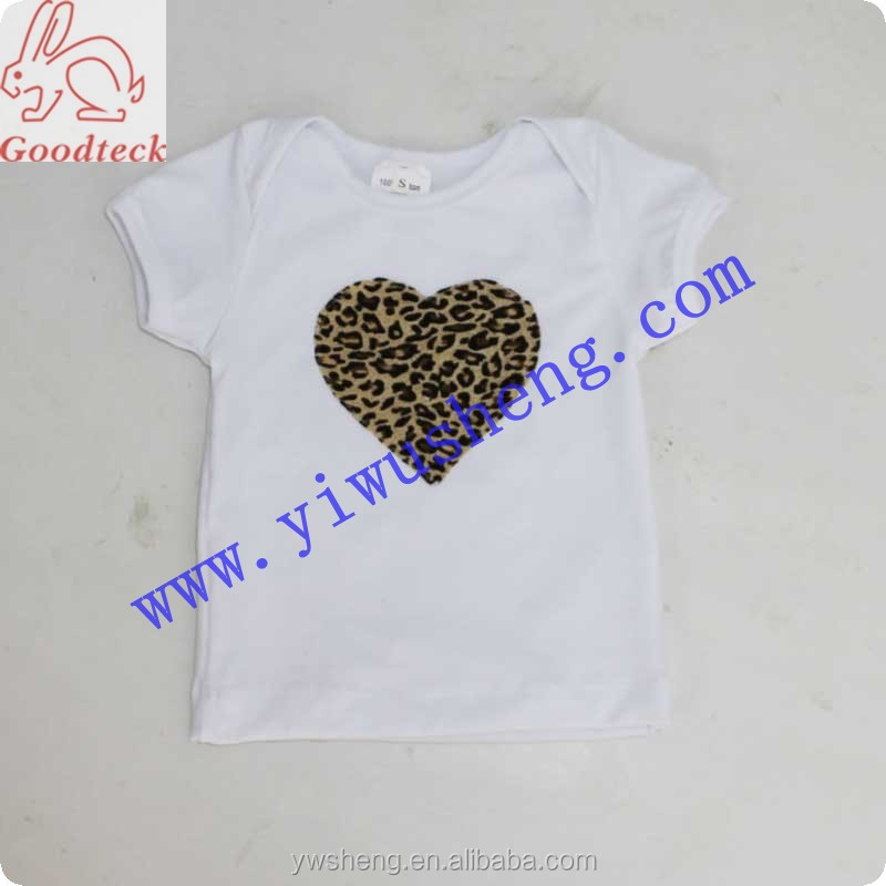 Wholesale white short sleeve sweet teen girls t shirt,fashion summer tank top with leopard heart-shaped