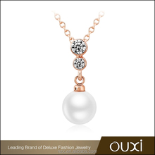 OUXI fashion gold plated zircon big pendant latest design pearl necklace 11294-1