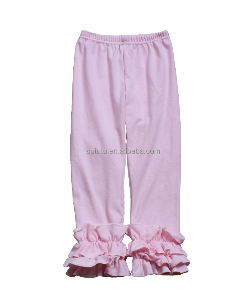 Sue Lucky wholesale various colors little girls hot style ruffles pants 3/4 pants cotton fabric