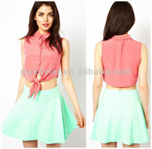 Wholesale brand name clothes, sleeveless crop top custom(S5003)