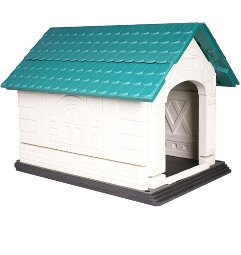 Weatherproof extra large green plastic dog house buy for Extra large dog houses for cheap