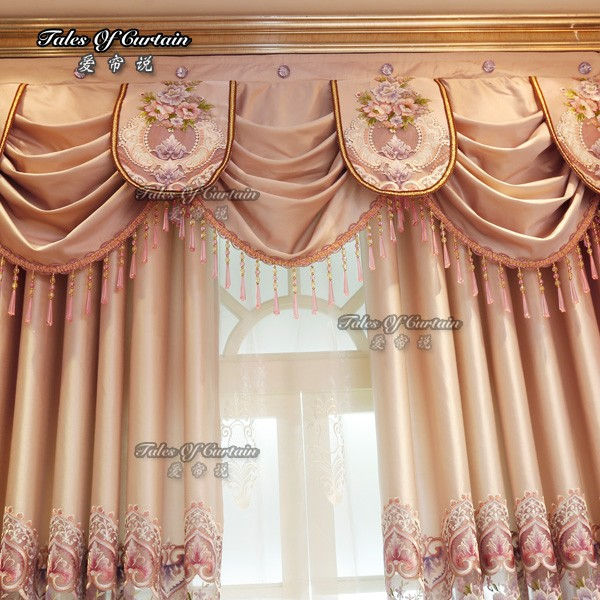 Latest curtain fashion designs with highly quality fabric cotton royal flower print embroidery curtain fabric
