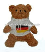 "Plush toy 2012 new hot !8"" sitting bear in jacket with hat"