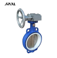 JRVAL worm gear operated center line wafer type butterfly valve with PTFE seat