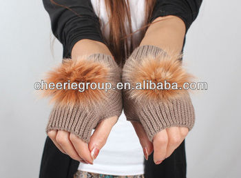 warm sheepskin rabbit fur gloves women