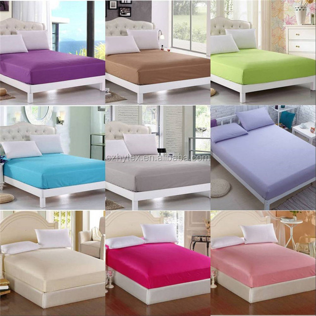 Solid Color brush microfiber Bedding Fitted Sheet Twin Full Queen King Size Bed Sheet 9 Colors