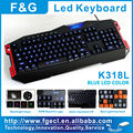 LED backlight programmable gaming keyboard with 15 programmable keys