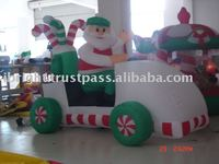 christmas inflatable in golf cart