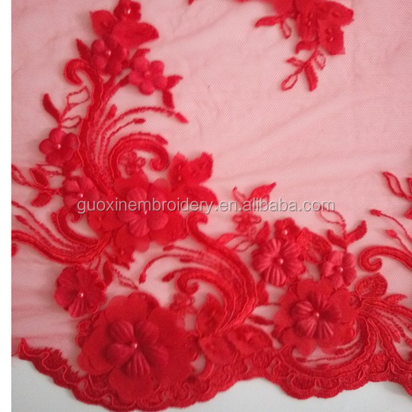 2016 Hot selling high quality guipure wedding lace with 3D flowers in-stock/colored applique embroidery lace with beads