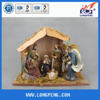 Resin Nativity Sets Figurines, the Holy Family,the Birth of Jesus with Wooden House