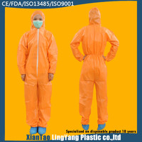 Orange Impervious Safety Disposable Coverall Working Overall