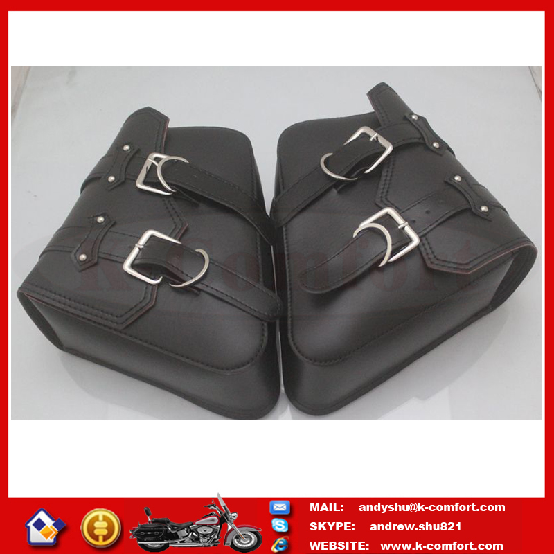 KTMB22 High quality Factory supply Leather Black motorcycle side bags for Harley