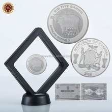 WR Big Five Babies Design 1 oz 999 24k Silver Plated Coin Commemorative Animal Buffalo Challenge Coin with Floating Case