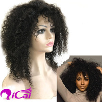 2016 popular natural unprocessed short afro curly lace front wig for black women