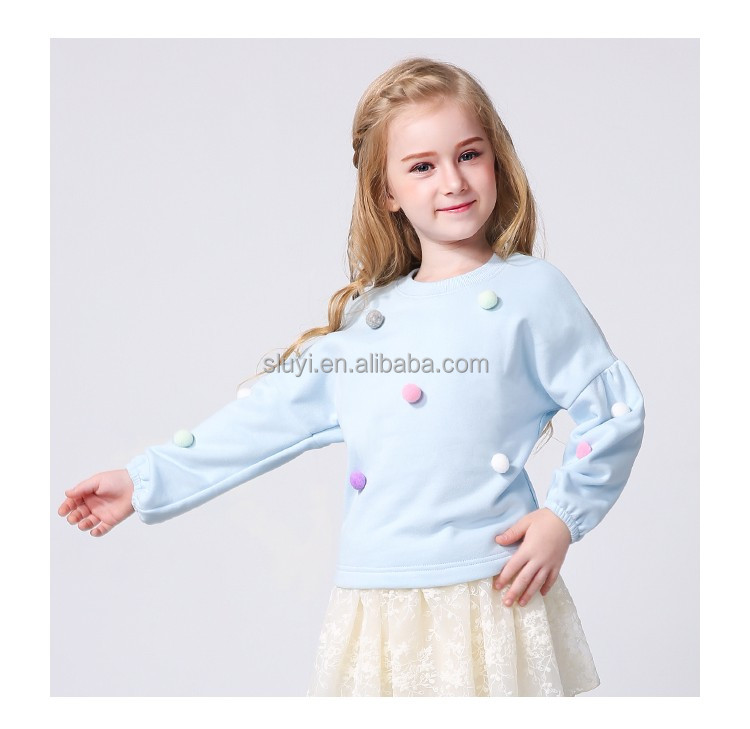 N923 Autumn kids wear fashion kids winter sweatshirt long sleeve design custom made low price for kids sweatshirt with bobbles