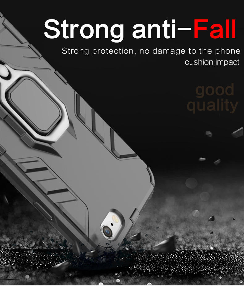 Newest TPU PC Magnetic Metal Finger holder cell phone case for iphone 8 metal phone case
