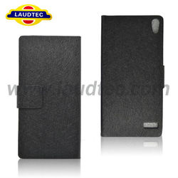 Unique Hair silking material style design fold leather case for Huawei Ascend P6