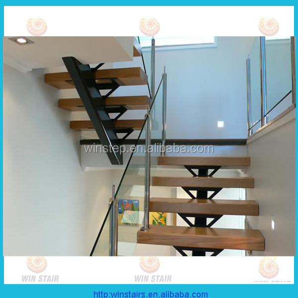 loft use u shaped stair metal staircase wood tread and glass handrail
