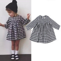 Long sleeve black white gingham fancy dresses for girls stylish frocks designs wholesale children boutique clothing 2016