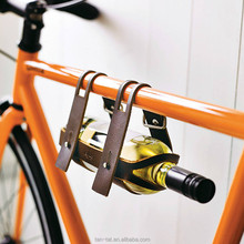 Genuine Leather Bicycle Wine Beer Caddy Rack Holder