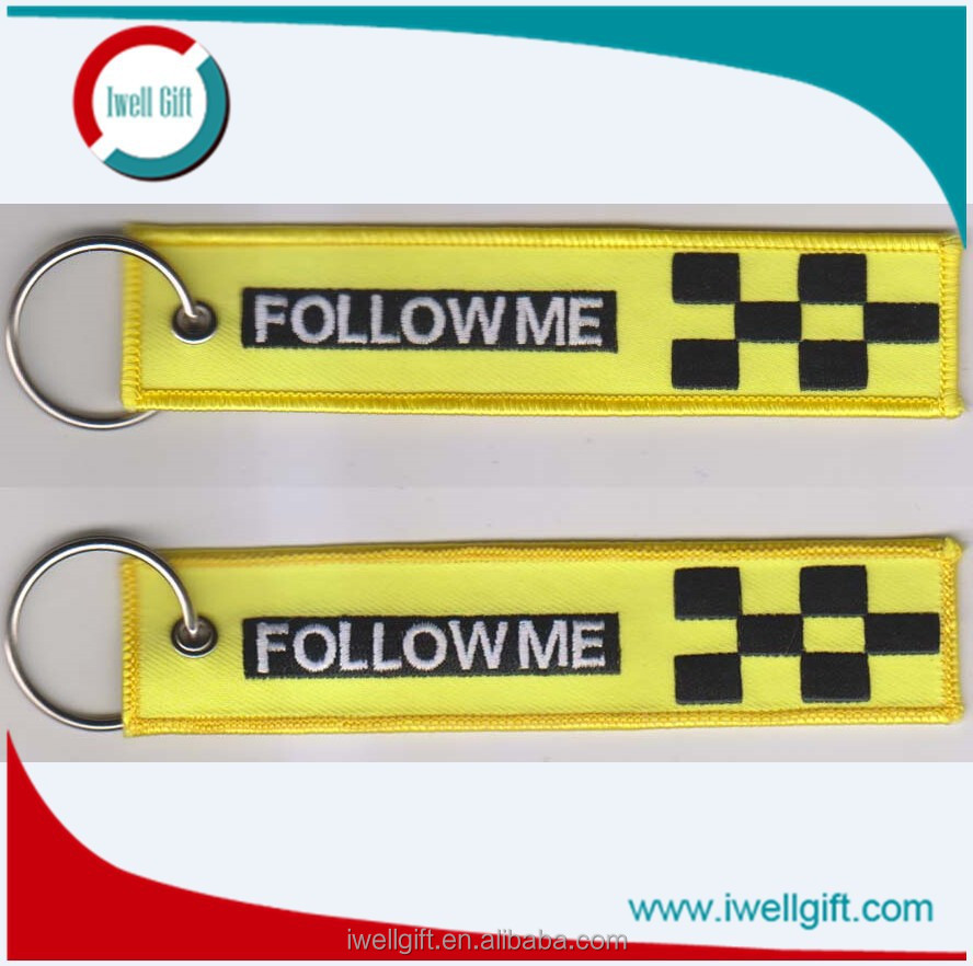 Yellow Fabric Follow Me Custom Logo Embroidery Keychain