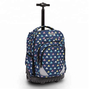 Best Selling Products In Amazon Dark Blue Sailboat Trolley Travel Backpack