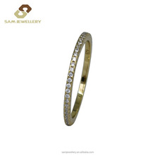 Gorgeous 18K Gold Plated with Zircon in 925 Sterling Silver Band Ring for Women