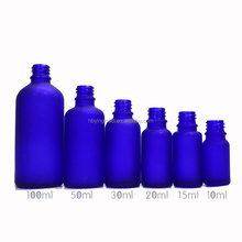 Acid Etch 5ml 10ml 15ml 20ml 30ml 50ml 60ml 100ml 120ml frosted cobalt blue glass essential oil bottle with dropper