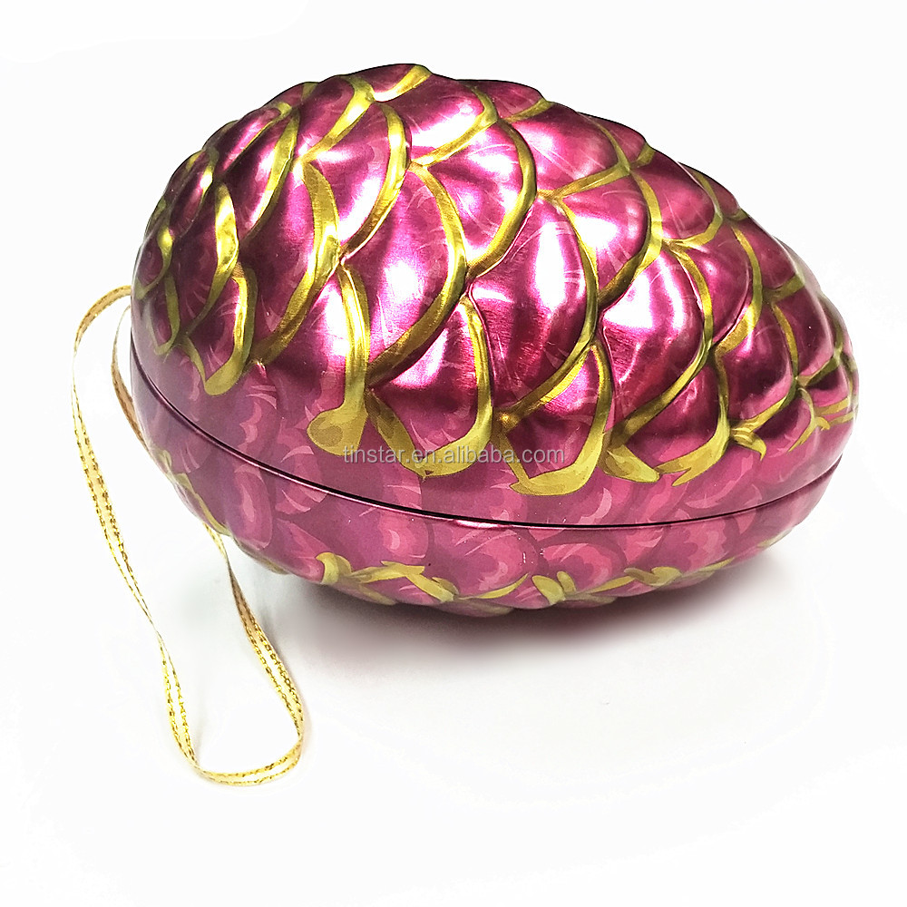embossed easter egg tin for packing chocolate