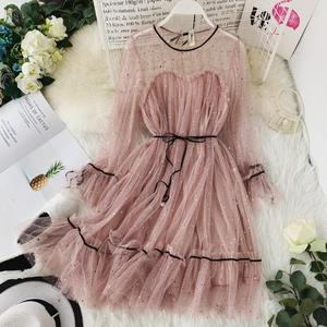 2019 Latest Design Women Gauze flare sleeve O-Neck Star Sequins Princess Mesh Dresses