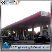 Free design prefabricated steel building structures gas station