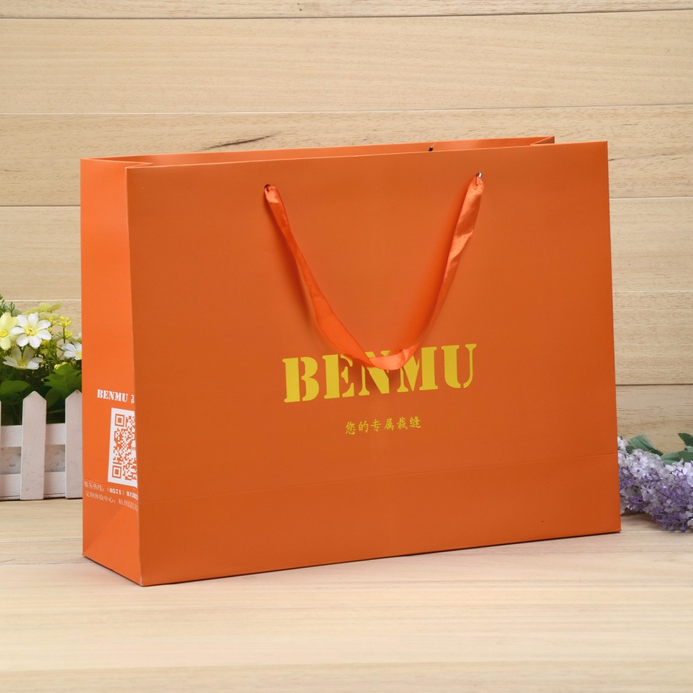famous brand recycle art paper laminated big strong shopping paper bag with your own logo