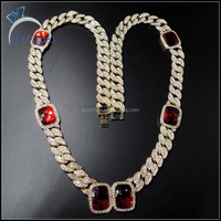high quality 24k gold cuban ruby chains hip hop necklace